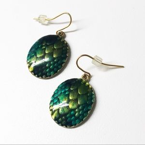 Chico's Enamel Mermaid Snake Dragon Scale Earrings